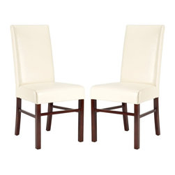 Safavieh - Safavieh Classic Side Chair Cream Leather, Set of 2 X-2TES-B5028DUH - Safavieh's Classic side chair has a timeless appeal that won't fade with fads. Characterized by clean lines and well-balanced proportions, Classic, shown in flat cream leather and dark cherry finished legs, is at home in traditional and transitional settings. Set of 2
