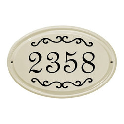 White Hall Products - White Hall Classic Scroll Ceramic Oval Address Plaque - 2635RD - Shop for Address Numbers Letters and Plaques from Hayneedle.com! Brighten up the look of your outdoor decor with the White Hall Classic Scroll Ceramic Oval Address Plaque. This oval plaque is made with durable ceramic material and features a single line for your house number. Its scroll embellishments add visual appeal and are available in a variety of color options. Screw holes make it easy to install.About Whitehall ProductsWhitehall Products are known as the world s leading manufacturer of weathervanes and is equally as respected for their high quality personalized home wall plaques. They also offer a wide variety of mailboxes garden accents hose holders birdbaths bird feeders sundials and more. Each offers an original design and is hand cast for the highest quality product available. Based in Montague Michigan Whitehall has been producing these popular products for over 65 years.