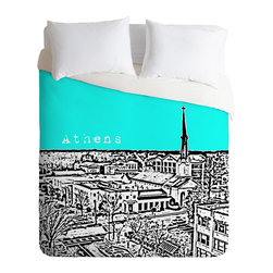 DENY Designs - Bird Ave Athens Aqua Duvet Cover - Turn your basic, boring down comforter into the super stylish focal point of your bedroom. Our Luxe Duvet is made from a heavy-weight luxurious woven polyester with a 50% cotton/50% polyester cream bottom. It also includes a hidden zipper with interior corner ties to secure your comforter. it's comfy, fade-resistant, and custom printed for each and every customer.