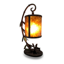 Zeckos - Leafy Bamboo Rustic Metal Hurricane Style Accent Lamp - Hanging from a stylized blooming bamboo stem is a 9.5 inch high, 7.5 inch diameter (24 X 19 cm) semi-translucent rustic brown hurricane style metal look shade housing 1 Type A 100 Watt Maximum bulb (not included) that sets this artfully crafted accent lamp aglow in a soft light perfect for an entryway table, a stand in the living room, or a bedroom dresser. This 24.5 inch high, 12 inch long, 8 inch wide (62 X 30 X 20 cm) brown and leafy green lamp easily turns on or off via the thumb-wheel switch on the 61 inch long brown cord. This lamp adds exotic flair in any room, and is great as a housewarming gift sure to be admired