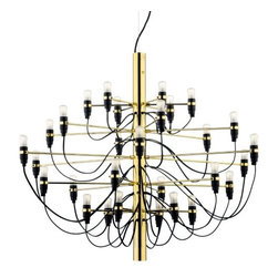 Flos Lighting - Model 2097/30 Chandelier by Flos Lighting - The Flos Model 2097/30 Chandelier is the mid-century modern take on the traditional chandelier. Designed in 1958 by Gino Sarfatti, it features thirty lights, each supported by a straight brass arm extending from the central steel column. The curve of each light's cable mimics the curves of a traditional chandelier.Flos was first established in 1962 in Merano, Italy, to produce high quality modern lighting. This Italian lighting company continues to do so to this day by collaborating with talented international designers and researching the latest lighting technologies and materials. Resulting Flos lighting fixtures are daring and provocative, yet uphold the fundamental principles of good design.Details:30 lightsSteel column and brass armsRound ceiling canopyAdjustable 9' suspension cableNot UL/ETL ListedMade in ItalyDesigned by Gino Sarfatti, 1958Options:Finish: Chrome, or Polished Brass.Lighting:Thirty 15 Watt 120 Volt E14 Clear Candelabra Incandescent lamps (included).Shipping:This item usually ships within 3 to 5 business days.