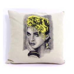 reStyled by Valerie - Retro Madonna Decorative Photo Pillow - Let the Material Girl bring a pop of color and fun to your decor with this decorative throw pillow. Illustrated by Nick Williams, this fabulous image of circa-1980s Madonna is individually screen printed onto each natural beige linen blend fabric pillow. Go ahead, express yourself!