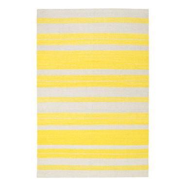 """Puhalo Stripe rug in Leo Sun - """"My great grandmother from Croatia was a weaver and a seamstress.  This rug was inspired from a beautifully simple tablecloth she had made as a teenager in the early 1900's.""""  Genevieve Gorder"""