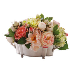 Jane Seymour Botanicals - Rose and Dahlia Planter - Bring the romance of the Victorian era to your home with this delightful permanent floral arrangement. One look at the gorgeous roses and dahlias carefully arranged in the antique-style planter, and you just might find yourself transported to that beautiful bygone era.
