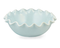 Ruffle Bowl - Small - Blue - Glazed a dreamy, delicate blue, the Small Ruffle Bowl has an elegant presence in decor and in serving, where the versatile ceramic bowl with its textured edge and endearing pastel color can gleam as the light catches along its billowing rim. Piled with fruit for a small breakfast-table centerpiece, this transitional dish makes a romantic visual choice.