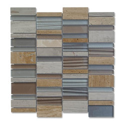 GlassTileStore - Sample-Rapids Pattern Hearts of Palm Glass and Stone Tile Sample - Sample-Rapids Pattern Hearts of Palm Glass and Stone Tile Sample   Samples are intended for color comparison purposes, not installation purposes.    -Glass Tiles -