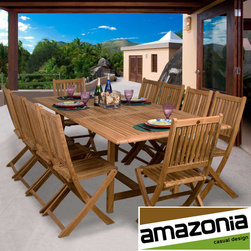 Amazonia - Toulouse 11-piece Teak Dining Set - The Toulouse teak set will provide comfortable year round dining for your grand outdoor partiesThis wonderful set will enable you to entertain large groups of up to 10 peopleConstructed of teak wood with a light brown color