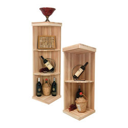 Wine Cellar Innovations - Vintner Series Wine Rack - Quarter Round Wine Display Shelfs - The Vintner Series Quarter Round Display Wine Shelf is perfect for displaying decanters, champagne buckets, or fine wine accessories. These 3 and 4 shelf wooden units make a flowing transition from wine racks to the wall. Purchase two to stack on top of each other to maximize the height of your wine storage. Moldings and platforms sold separately. Assembly required.