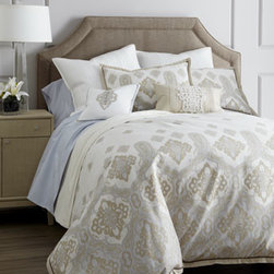 Charisma - Charisma Quilted Silk European Sham - An engineered, Moroccan-inspired pattern in subtle tones of ivory and sky blue bring a mix of traditional and modern style to any bedroom. Spot clean pillows; dry clean linens. From Charisma®. Printed linens are 450-thread-count cotton percale wi...