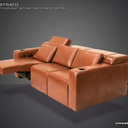 Media Room Seats from Cineak >> Strato - CONTEMPORARY DESIGN – HIDDEN FUNCTIONALITY A first-of-its kind line of cinema seating, the STRATO's truly modular design combines the plush comfort of a couch with the functionality of a traditional upright theater seat.