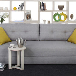 NYFU - Broad Sofa Bed Grey - Goldilocks was picky, and you can be too. Customize your sofa with removable back and side cushions for different looks and levels of support. Bonus: it folds out into a bed you can also rearrange. This grey sleeper sofa comes with puffy rectangular back cushions and cylindrical arm rest that offers extra comfort. The modern three seater converts in to a bed with couple simple steps. Remove the back cushions, lift the seat and pull it towards yourself. No need to bring out a heavy mattress! Cotton blend fabric sofa maintains its texture for years, but do care for it. Do not leave liquids on or unattended, you may want to place them on side tables