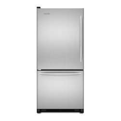"""KitchenAid - Architect Series II KBLS19KTMS 30"""" 18.5 cu. ft. Capacity Bottom-Freezer Refriger - This bottom-mount freezer refrigerator features 2 pull-out freezer baskets for quick and easy retrieval of frozen items The FreshChill temperature management system monitors the temperature for consistent results"""