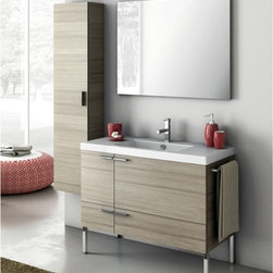 ACF - 39 Inch Bathroom Vanity Set - Set Includes: . Vanity Cabinet (2 doors, 1 drawer). Fitted ceramic sink (39.4 inch x 18 inch ). Mirror (W 37.4 inch x H 28.3 inch ). Vanity light. Kit of 4 polished chrome feet (7.9 inch ). Tall Storage Cabinet (W 13.8 inch x H 59.1 inch x D 8.2 inch ). Polished Chrome Towel Rail. Vanity Set Features:. Vanity cabinet made of engineered wood. Cabinet features waterproof panels. Available in Larch Canapa, Wenge, Grey Oak Senlis, Glossy White. Cabinet features 2 doors, 1 soft-closing drawer. Faucet not included. Perfect for modern bathrooms. Made and designed in Italy. Includes manufacturer 5 year warranty.
