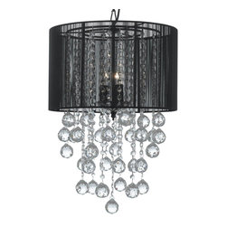 """Crystal Chandelier with Large Black Shade & Crystal Balls  H24"""" W15"""" - This beautiful Chandelier is trimmed with Empress Crystal(TM)Item must be hardwired. Professional installation is recommended.REquires (3) 40 watt bulbs - not included"""