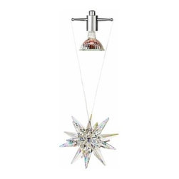"LBL Lighting - Celeste Pendant Light | LBL Lighting - Large cut Strass crystal that throws brilliant iridescent patterns on the ceiling and any nearby walls. Includes specified low-voltage lamp and 8 feet of field-cuttable suspension cable. Crystal star is 5"" D X 5""H.Can be used with the following systems LBL Single Circuit Monorail, LBL Two-Circuit Monorail, or LBL Fusion Jack Canopies."