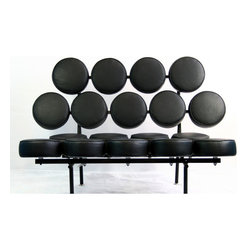 """Leather Sofas Othello Black Couch - This unconventional Othello Black Couch in Genuine Leather brings both fun and modern styling to your home. Featuring a whimsical design of """"floating"""" genuine leather cushions, the Othello couch is not only astonishing in its appearance, but also surprisingly comfortable. This quality reproduction has improved the design and production principles of the original."""