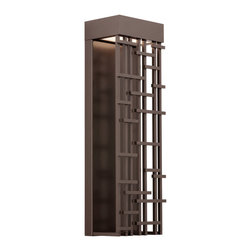 LBL Lighting - Pier Large Outdoor Wall Sonce - The Pier Outdoor Wall Sconce has a delicate balance of light and shadow due to the contemporary design of its metal grid. Available in Bronze or Silver finish. One 21 watt 120 volt 3000K 1800 lumen LED module is included. 8.4 inch width x 26.4 inch height x 6 inch depth. Suitable for wet or damp locations.