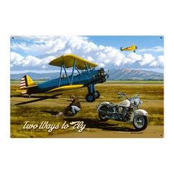 Past Time Signs - Two Ways to Fly 36 x 24 Inches Metal Sign - - Width: 36 Inches