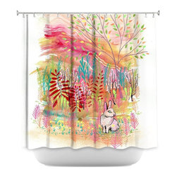 DiaNoche Designs - Shower Curtain Artistic - Cotton Tail - DiaNoche Designs works with artists from around the world to bring unique, artistic products to decorate all aspects of your home.  Our designer Shower Curtains will be the talk of every guest to visit your bathroom!  Our Shower Curtains have Sewn reinforced holes for curtain rings, Shower Curtain Rings Not Included.  Dye Sublimation printing adheres the ink to the material for long life and durability. Machine Wash upon arrival for maximum softness on cold and dry low.  Printed in USA.