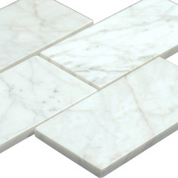All Marble Tiles - Bianco Carrara 3x6 Polished Marble Subway Tile - Bianco Carrara 3x6 Polished Marble Subway Tile