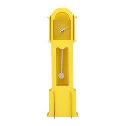 WOLF - Wooden Jigsaw Mini Grandfather Clock, Yellow - Easy to assemble (no tools required), this grandfather clock creates a 3-dimensional appearance using four flat wooden cross-sections stacked back-to-front for a life-size pop-up book style construction.
