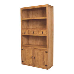 Rustic Pine Bookcase - A traditional bookcase with non-traditional accents. Lots of space and Solid wood construction.