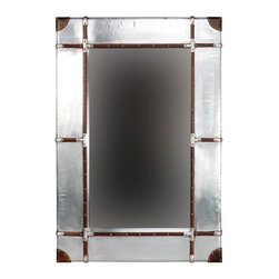 """Linon Home Decor - Linon Home Decor Aluminum Framed Wall Mirror - Small X-184X232RIMMMA - Full of rustic charm and character, the Aluminum Framed Wall Mirror is perfect for accenting any area of your home. The wide bordered mirror is accented with leather and nailhead details. Hangs vertically or horizontally. Measures 32""""x3""""x48"""" We suggest you consult a professional before hanging as this item is heavy."""