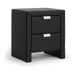 "Wholesale Interiors - Frey Black Upholstered Modern Nightstand - The Frey Designer Nightstand makes it easy to stash your odds and ends, turning clutter into sleek contemporary goodness. The Frey Nightstand is made in Malaysia with a sturdy plywood and hardwood frame topped with a thin layer of foam padding and black faux leather. Silver drawer pulls not only allow the two drawers to be opened with ease but add another layer of modern polish. The modern bedside table, which comes fully assembled, is also available in white (sold separately). To clean, wipe with a damp cloth. Product dimension: 18.5""W x 15.87""D x 21.5""H , drawer(2): 12.37""W x 12.62""D x 5.5""H."