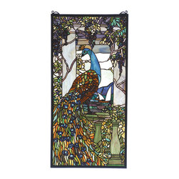 "Meyda Tiffany - 15""W X 30""H Tiffany Peacock Wisteria Stained Glass Window - Louis Comfort Tiffany originally created this lovely Peacock window in the early 1800's. Meyda Tiffany has taken 1535 pieces of stained glass and painstakingly reproduced this window as close as possible to the original colors of Teal, Emerald, Amethyst and Jade. A solid brass hanging chain and brackets are included."