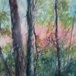 """""""Morning Light"""" (Original) By Sandy Bennett - Get Up Early For Coffee But Keep Your Eyes Open Because You Might See Fodder For A Painting. The Light Coming Thru The Trees Was Irresistible."""