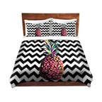 DiaNoche Designs - Duvet Cover Twill by Organic Saturation - Party Pineapple Chevron - Lightweight and soft brushed twill Duvet Cover sizes Twin, Queen, King.  SHAMS NOT INCLUDED.  This duvet is designed to wash upon arrival for maximum softness.   Each duvet starts by looming the fabric and cutting to the size ordered.  The Image is printed and your Duvet Cover is meticulously sewn together with ties in each corner and a concealed zip closure.  All in the USA!!  Poly top with a Cotton Poly underside.  Dye Sublimation printing permanently adheres the ink to the material for long life and durability. Printed top, cream colored bottom, Machine Washable, Product may vary slightly from image.