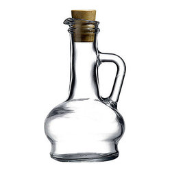 Hospitality Glass - 6.25H x 1.5T x 3.5B Oil & Vinegar with Cork Stopper Rounded 12 Ct - Oil & Vinegar with Cork Stopper Rounded