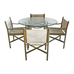 "Hollywood Regency Mastercraft Style Dining Set - A jaw-dropping dining set that is very Mastercraft - Hollywood Regency style! The set is in great vintage condition. This well loved set has had some of the brass plate worn with time, giving it almost a chrome-like patina in some places.  A truly stunning set! Table Dimensions: 46.0""W ��� 46.0""D ��� 30.0""H Chair Dimensions: 21.5""W ��� 32.0"" T ��� 19.0"" D"