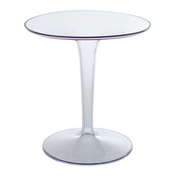 LexMod - Philippe Starck Tip Top Side Table - Paint your experiences rich with a side table rested on infinity. Canvas combines a charming round matte top, with a fully transparent slim base, to deliver an ethereal sense of stability. The hollow pedestal stem fades away as you sit and contemplate those seemingly visible elements of life. Canvas is an unassuming conversation piece perfect for bars, cafes, restaurants and outdoor seating and reception areas that prefer open-ended results.