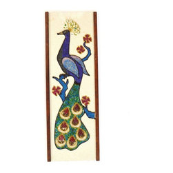 Pre-owned Mid-Century Mosaic Gem Stones & Sequins Peacock - An original colorful Mid-Century Modern peacock wall hanging with style! Beautiful mosaic of gem stones, beads, strings, and sequins to make this peacock unique. The sides are framed by walnut. Unsigned.