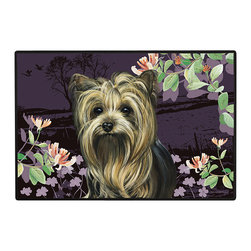 235-Yorkie Springtime Doormat - 100% Polyester face, permanently dye printed & fade resistant, nonskid rubber backing, durable polypropylene web trim on the porch or near your back entrance to the house with indoor and outdoor compatible rugs that stand up to heavy use and weather effects