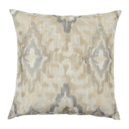 """Z Gallerie - Raj Pillow 24"""" - Enliven your décor with satiated hues of grey, cream and silver with our exclusive Raj Pillow.  Printed in an Ikat fashion with blends of colors decoratively intermingled creates a stunning display of contrast and texture. Use alone as a show stopping accent pillow, or pair together with a contrasting mix of prints for an enticing display of pattern."""