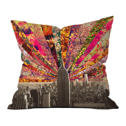 DENY Designs - Bianca Green Blooming NY Throw Pillow, 26x26x7 - Wanna transform a serious room into a fun, inviting space? Looking to complete a room full of solids with a unique print? Need to add a pop of color to your dull, lackluster space? Accomplish all of the above with one simple, yet powerful home accessory we like to call the DENY throw pillow collection!