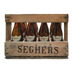 Advertising Crate w/ Bottles - This is an authentic wood advertising crate, has 8 German Ale bottles included in crate. Excellent Vintage Condition ready to put in your kitchen or nook.