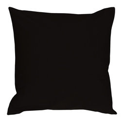 Pillow Decor - Pillow Decor - Caravan Cotton Black 23 x 23 Throw Pillow - Our largest size in the Caravan Cotton pillows, these 23 x 23 inch throw pillows are perfect for large sectionals or family rooms and dens where you want that over sized pillow to collapse into at the end of the day. With 3% spandex added to improve durability and wash ability, these colorful cotton pillows will provide long lasting comfort.