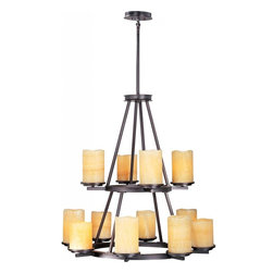 Maxim - Maxim Luminous 12-Light Rustic Ebony Stone Candle Glass Candle Chandelier - This Twelve Light Candle Chandelier is part of the Luminous Collection and has a rustic ebony finish and stone candle glass. It is dry rated.