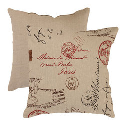 Pillow Perfect - Linen and Red French Postale 18-Inch Throw Pillow - - Linen Texture  - 100% Virgin Recycled Polyester Fill  - Sewn Seam Closure  - Spot Clean Only  - Made In USA  -Please note that image shows front and back of pillow. Only one pillow is being sold. Pillow Perfect - 474830