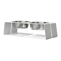 Doca Pet - 3-Cup Dogleg Diner, Small - Bone appetit! Your pooch will love this ergonomic diner's comfort, and you'll appreciate the contemporary design. Made in Chicago, it includes two gleaming dog dishes.