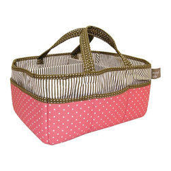 Trend Lab - Trend Lab Baby Cocoa Coral Storage Caddy - 102351 - Shop for Diaper Stackers from Hayneedle.com! Featuring an adorable blend of striped and polka-dotted patterns in coral taupe and white the Trend Lab Baby Cocoa Coral Storage Caddy will bring excellent storage to the nursery. It features a removable T shaped divider to compartmentalize items and there are 8 pockets around the exterior to maximize storage space. Handles add the finishing touch and make it easily portable. This caddy is also excellent for crafts picnics pet supplies cosmetics and more. Coordinates with the Cocoa Coral Collection by Trend Lab.About Trend LabFormed in 2001 in Minnesota Trend Lab is a privately held company proudly owned by women. Rapid growth in the past five years has put Trend Lab products on the shelves of major retailers and the company continues to develop thoroughly tested high-quality baby and children's bedding decor and other items. Trend Lab continues to inspire and provide its customers with stylish products for little ones. From bedding to cribs and everything in between Trend Lab is the right choice for your children.
