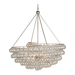 Kathy Kuo Home - Modern Glass Bauble Round 4 Light Chandelier - A classic glass bauble chandelier, this striking piece of modern glass lighting delivers all the charm of a contemporary chandelier with the delicacy of blown glass baubles.  The effect is both alluring and illuminating,