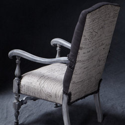 Vintage French Furniture and accessories - French Country arm chair in a gray antique glaze finish. 100% Belgium Linen with seat and