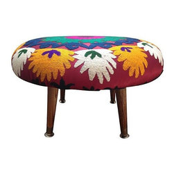 Used Suzani-Covered Footstool - Beautiful and bright embroidered suzani-covered footstool. Handmade in the Barrington Blue studio in Los Angeles, this stool has a ton of character and will add a bit of fun to any space.