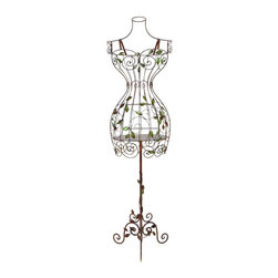 "Benzara - Metal Mannequin Stand Must For The Owners Of Show Room - If you are the owner of show room and are feeling the need to display your goods in more effective and convincing manner, have look over 65708 Metal MANNEQUIN STAND. It has been the hot selling item since its arrival. All the dresses can be displayed over it with full display of design and size. It is light weight and can be placed outdoor also.; Material: Rust free metal alloy; Color: Antique brown with net supportive structure; Unique utility Item; Upgrades the feel of dresses; Discounted; Dimensions: 16.93""H x 35.43""W x 11.81""D (min. aprox. dimensions)"