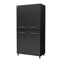 South Shore - South Shore Karbon Storage Cabinet in Pure Black and Charcoal - South Shore - Garage Storage - 5227970 - This Karbon Storage 6-shelf Cabinet in Pure Black and Charcoal finish part of South Shores Practik line is especially designed for the garage or basement organization.