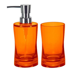 Modern Bathroom 2 Piece Accessory Set, Orange - Colorful acrylic soap and lotion dispenser plus tumbler - 2 piece bathroom accessories set. Contemporary semi transparent hourglass shape. Impact resistant countertop accessories with bright beautiful color options. Stronger than glass and just as beautiful.  Made in Germany. Tumbler (W) 2.5in x (H) 4.75in ; Dispenser (W) 2.5in x (H) 6.75in